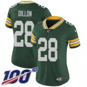 Wholesale Cheap Nike Packers #28 AJ Dillon Green Team Color Women's Stitched NFL 100th Season Vapor Untouchable Limited Jersey
