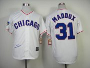 Wholesale Cheap Mitchell And Ness 1988 Cubs #31 Greg Maddux White Throwback Stitched MLB Jersey