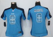Wholesale Cheap Nike Titans #8 Marcus Mariota Light Blue Alternate Women's Stitched NFL Elite Strobe Jersey