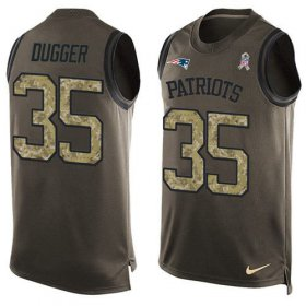 Wholesale Cheap Nike Patriots #35 Kyle Dugger Green Men\'s Stitched NFL Limited Salute To Service Tank Top Jersey