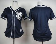 Wholesale Cheap Padres Blank Navy Blue Alternate 1 Women's Stitched MLB Jersey