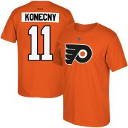 Wholesale Cheap Philadelphia Flyers #11 Travis Konecny Reebok Name & Number T-Shirt Orange