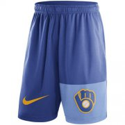 Wholesale Cheap Men's Milwaukee Brewers Nike Royal Cooperstown Collection Dry Fly Shorts