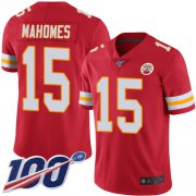 Wholesale Cheap Nike Chiefs #15 Patrick Mahomes Red Team Color Men's Stitched NFL 100th Season Vapor Limited Jersey