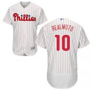 Wholesale Cheap Phillies #10 J. T. Realmuto White(Red Strip) Flexbase Authentic Collection Stitched MLB Jersey