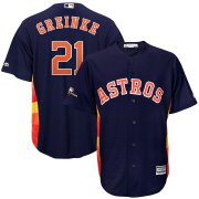 Wholesale Cheap Houston Astros #21 Zack Greinke Majestic 2019 Postseason Official Cool Base Player Jersey Navy