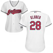 Wholesale Cheap Indians #28 Corey Kluber White Women's Home Stitched MLB Jersey