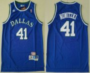 Wholesale Cheap Men's Dallas Mavericks #41 Dirk Nowitzki Light Blue Hardwood Classics Soul Swingman Throwback Jersey