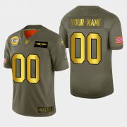 Wholesale Cheap Nike Packers Custom Men's Olive Gold 2019 Salute to Service NFL 100 Limited Jersey