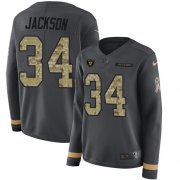 Wholesale Cheap Nike Raiders #34 Bo Jackson Anthracite Salute to Service Women's Stitched NFL Limited Therma Long Sleeve Jersey