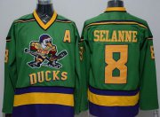 Wholesale Cheap Ducks #8 Teemu Selanne Green CCM Throwback Stitched NHL Jersey