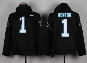 Wholesale Cheap Carolina Panthers #1 Cam Newton Pullover NFL Hoodie Black