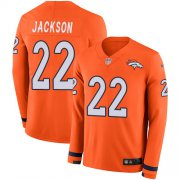 Wholesale Cheap Men's Broncos #22 Kareem Jackson Orange Team Color Men's Stitched NFL Limited Therma Long Sleeve Jersey