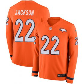 Wholesale Cheap Men\'s Broncos #22 Kareem Jackson Orange Team Color Men\'s Stitched NFL Limited Therma Long Sleeve Jersey