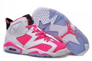 Wholesale Cheap Air Jordan 6 For Women Shoes Pink/white-black