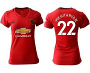 Wholesale Cheap Women's Manchester United #22 Mkhitaryan Red Home Soccer Club Jersey