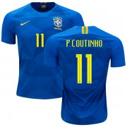 Wholesale Cheap Brazil #11 P.Coutinho Away Kid Soccer Country Jersey