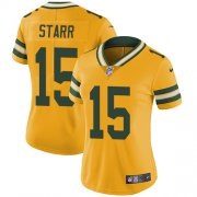 Wholesale Cheap Nike Packers #15 Bart Starr Yellow Women's Stitched NFL Limited Rush Jersey