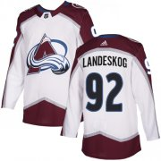 Wholesale Cheap Adidas Avalanche #92 Gabriel Landeskog White Road Authentic Stitched Youth NHL Jersey