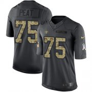 Wholesale Cheap Nike Saints #75 Andrus Peat Black Youth Stitched NFL Limited 2016 Salute to Service Jersey