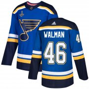 Wholesale Cheap Adidas Blues #46 Jake Walman Blue Home Authentic 2019 Stanley Cup Champions Stitched NHL Jersey