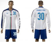Wholesale Cheap Italy #30 Ranocchia White Away Long Sleeves Soccer Country Jersey