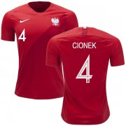 Wholesale Cheap Poland #4 Cionek Away Soccer Country Jersey