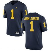 Wholesale Cheap Men's Michigan Wolverines #1 Ann Arbor Navy Blue Stitched College Football Brand Jordan NCAA Jersey