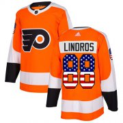 Wholesale Cheap Adidas Flyers #88 Eric Lindros Orange Home Authentic USA Flag Stitched Youth NHL Jersey