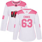 Wholesale Cheap Adidas Senators #63 Tyler Ennis White/Pink Authentic Fashion Women's Stitched NHL Jersey