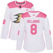 Wholesale Cheap Adidas Ducks #8 Teemu Selanne White/Pink Authentic Fashion Women's Stitched NHL Jersey