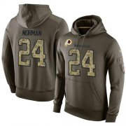 Wholesale Cheap NFL Men's Nike Washington Redskins #24 Josh Norman Stitched Green Olive Salute To Service KO Performance Hoodie