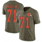 Wholesale Cheap Nike Browns #71 Jedrick Wills JR Olive Youth Stitched NFL Limited 2017 Salute To Service Jersey