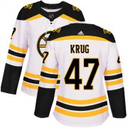 Wholesale Cheap Adidas Bruins #47 Torey Krug White Road Authentic Women's Stitched NHL Jersey