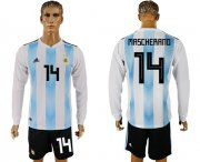 Wholesale Cheap Argentina #14 Mascherano Home Long Sleeves Soccer Country Jersey