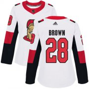 Wholesale Cheap Adidas Senators #28 Connor Brown White Road Authentic Women's Stitched NHL Jersey