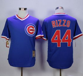 Wholesale Cheap Cubs #44 Anthony Rizzo Blue Cooperstown Stitched MLB Jersey