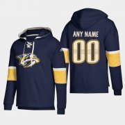 Wholesale Cheap Nashville Predators Personalized Lace-Up Pullover Hoodie Navy