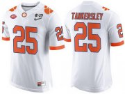Wholesale Cheap Men's Clemson Tigers #25 Cordrea Tankersley White 2017 Championship Game Patch Stitched CFP Nike Limited Jersey