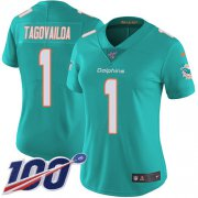 Wholesale Cheap Nike Dolphins #1 Tua Tagovailoa Aqua Green Team Color Women's Stitched NFL 100th Season Vapor Untouchable Limited Jersey