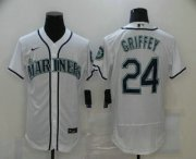 Wholesale Cheap Men's Seattle Mariners #24 Ken Griffey Jr. White Stitched MLB Flex Base Nike Jersey