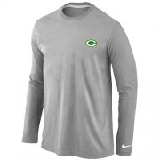 Wholesale Cheap Nike Green Bay Packers Sideline Legend Authentic Logo Long Sleeve T-Shirt Grey
