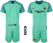 Wholesale Cheap Barcelona Blank Green Goalkeeper Kid Soccer Club Jersey