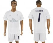Wholesale Cheap Real Madrid #1 I.Casillas Marine Environmental Protection Home Soccer Club Jersey