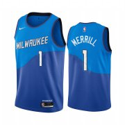 Wholesale Cheap Nike Bucks #1 Sam Merrill Blue NBA Swingman 2020-21 City Edition Jersey