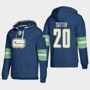 Wholesale Cheap Vancouver Canucks #20 Brandon Sutter Blue adidas Lace-Up Pullover Hoodie