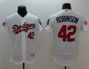 Wholesale Cheap Dodgers #42 Jackie Robinson White Fashion Stars & Stripes Flexbase Authentic Stitched MLB Jersey