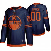 Wholesale Cheap Edmonton Oilers Custom Blue 2019-20 Third Alternate Jersey