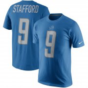 Wholesale Cheap Detroit Lions #9 Matthew Stafford Nike Player Pride Name & Number T-Shirt Blue