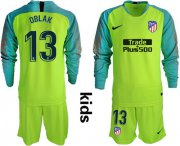 Wholesale Cheap Atletico Madrid #13 Oblak Shiny Green Goalkeeper Long Sleeves Kid Soccer Club Jersey